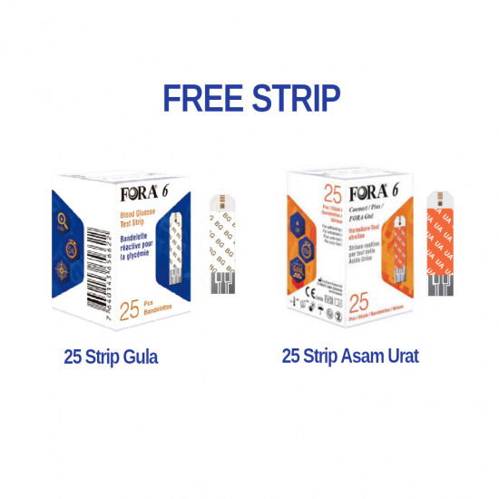 FORA 6in1 Alat Cek Darah FREE 25 Strip Gula + 25 Strip Asam Urat