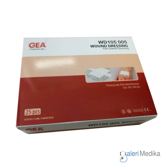 Wound Dressing WD105 005 GEA 90x100mm Plester Transparan Anti Air