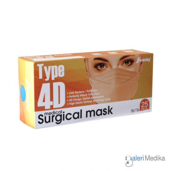 Masker Serenity Surgical Mask 4D Earloop Box isi 25