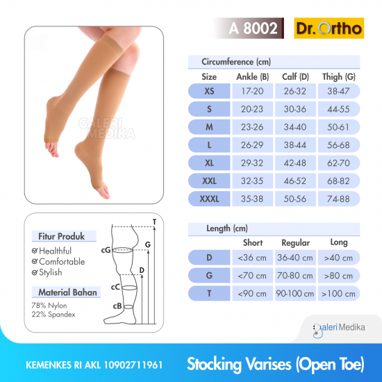 Dr. Ortho A-8002 Stocking Varises Under Knee - Open Toes