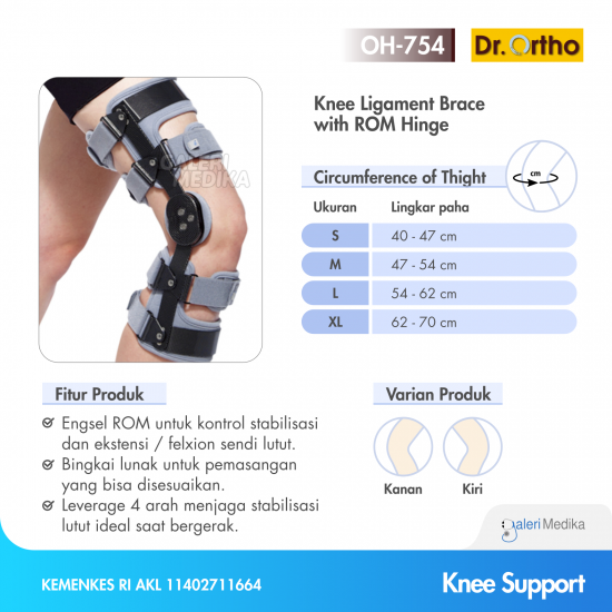 Dr. Ortho OH-754 Knee Ligament Brace With ROM Hinge